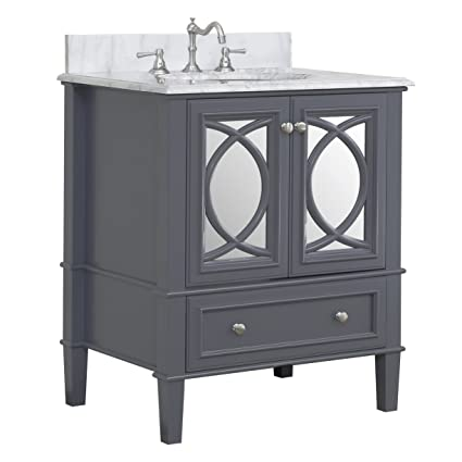 Olivia 30-inch Bathroom Vanity (Carrara/Charcoal Gray): Includes Italian  Carrara Marble Countertop, a Charcoal Gray Cabinet, Soft Close Drawers, and  a ...