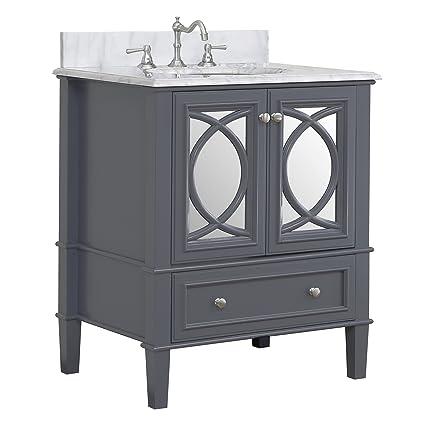 Olivia 30 Inch Bathroom Vanity (Carrara/Charcoal Gray): Includes Italian  Carrara