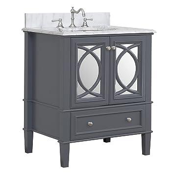 Olivia 76,2 cm Mueble de baño (cuarzo/Gris carbón): Incluye ...