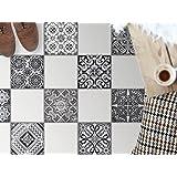 creatisto Carrelage sticker autocollant pour sol | Tatouage mosaïque - Renovation sanitaires | Motif Black n White | 30x30 cm - 9 pièces (3x3)