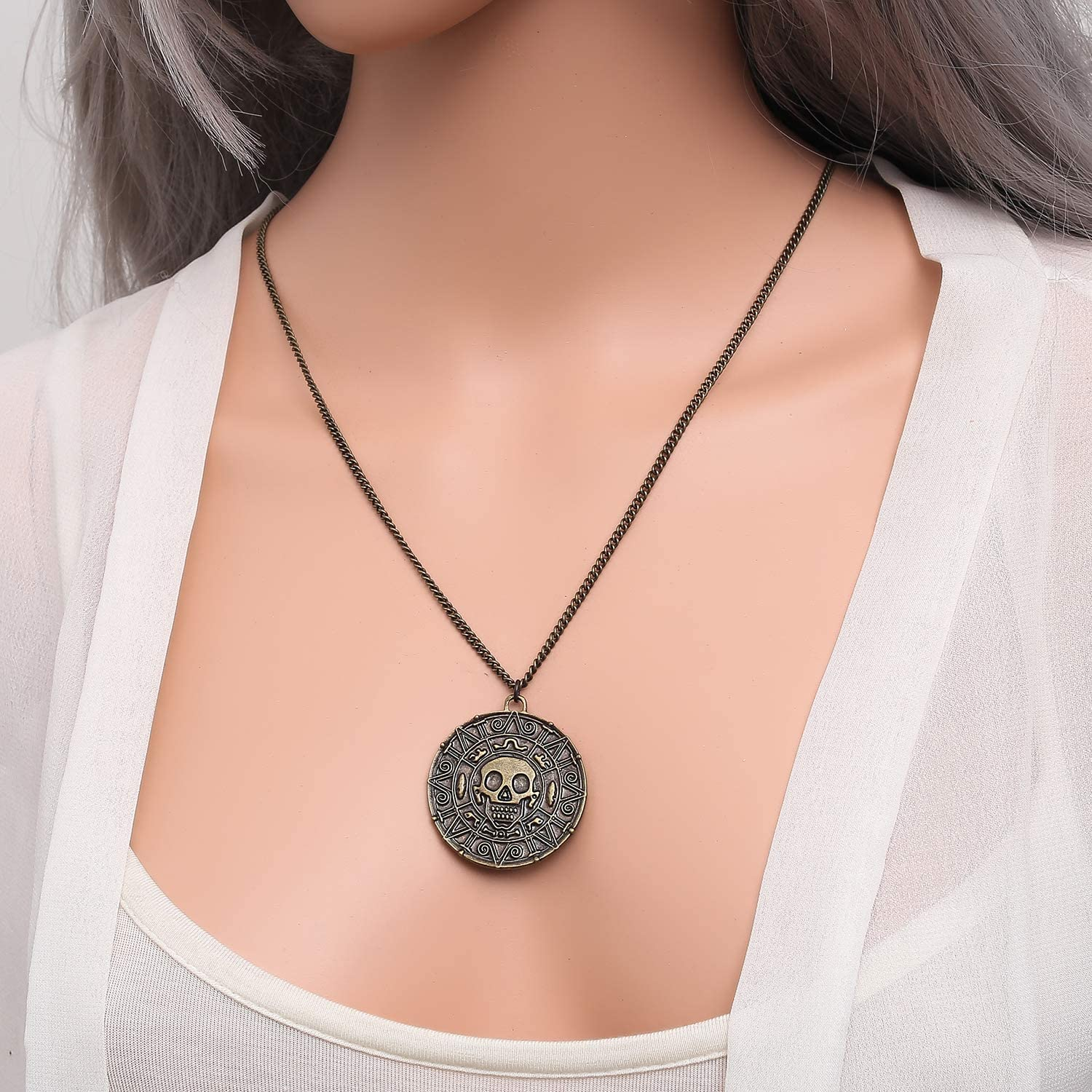 01003817 lureme/® Inspired by Pirates of The Caribbean Movies Cursed Aztec Coin Medallion Necklace Skull Necklace