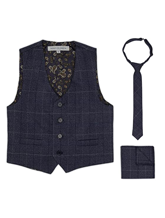 1940s Children's Clothing: Girls, Boys, Baby, Toddler Paisley of London Boys Waistcoat Set Checked Waistcoat Set Grey Waistcoat Navy Waistcoat 1 - 13 years £20.99 AT vintagedancer.com