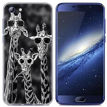 Yrlehoo Para Elephone S7 5.5 Pulgadas, Cuero Funda de Silicona Suave para Elephone S7 5.5 Pulgadas Protectora Cover Case, Girafa