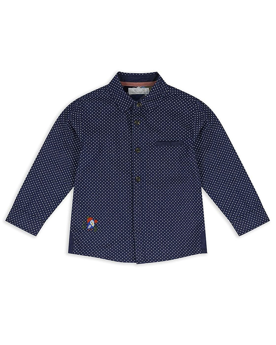 The Essential One Baby Kids Boys Long-Sleeve Toucan Shirt - Blue - EOT452