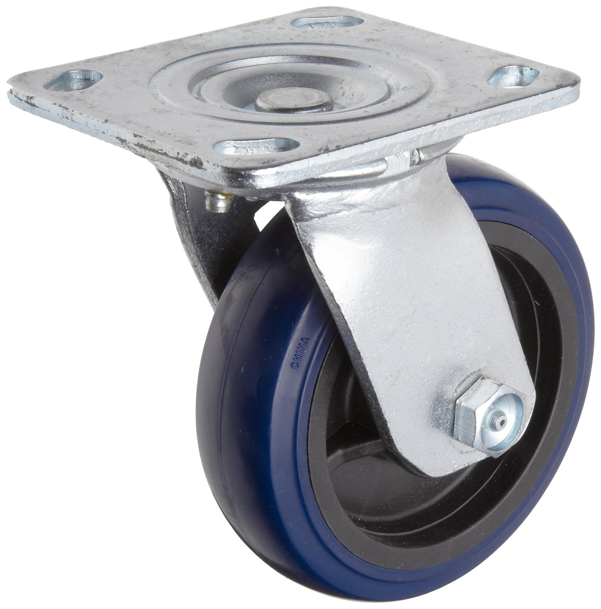 RWM Casters S65 Series Plate Caster, Swivel, Kingpinless, Rubber on Aluminum Wheel, Stainless Steel Plate, Stainless Steel Ball Bearing, 700 lbs Capacity, 4'' Wheel Dia, 2'' Wheel Width, 5-5/8'' Mount Height, 4-1/2'' Plate Length, 4'' Plate Width by RWM Casters