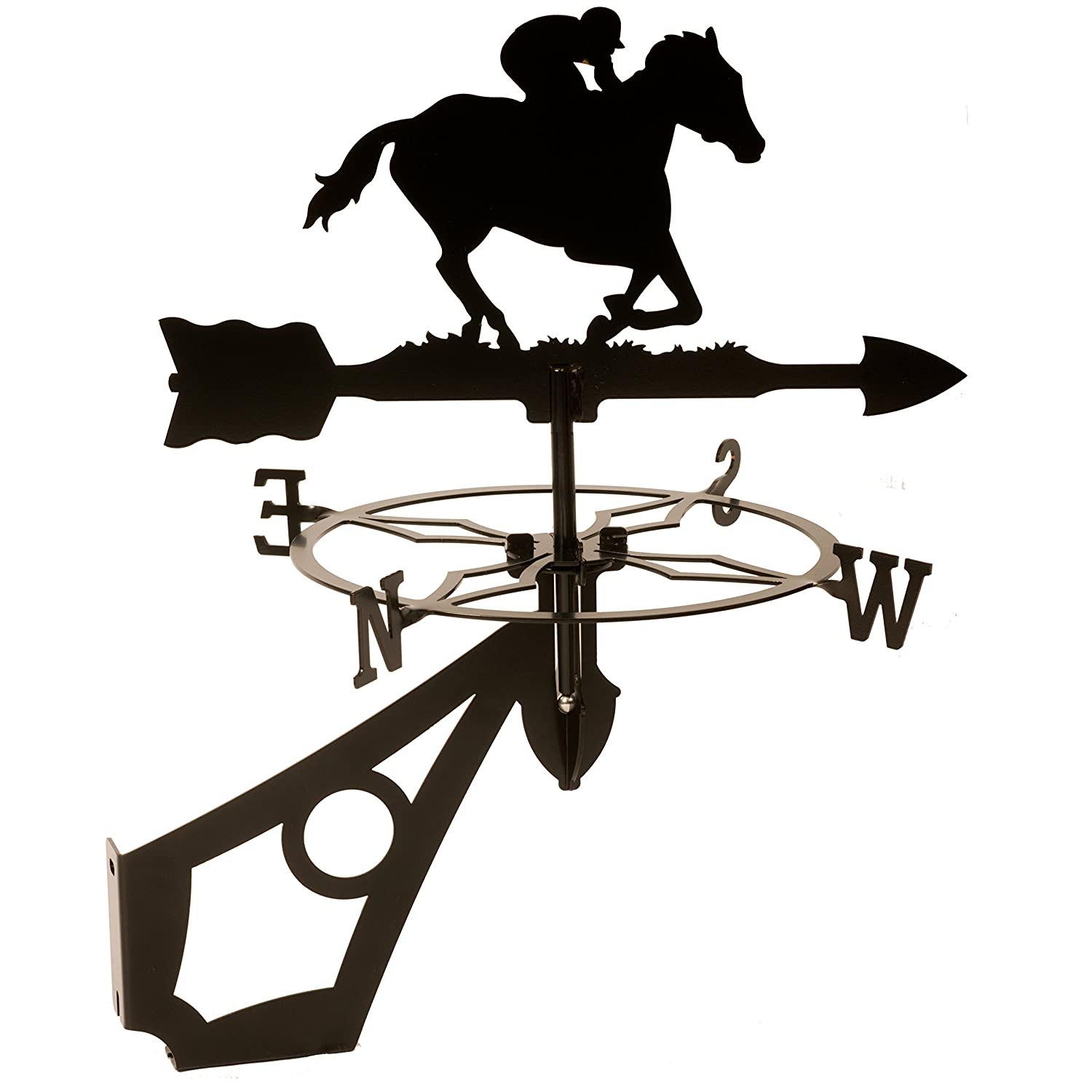 Dragon Laser Ltd. W143BLK Horse & Jockey Weathervane