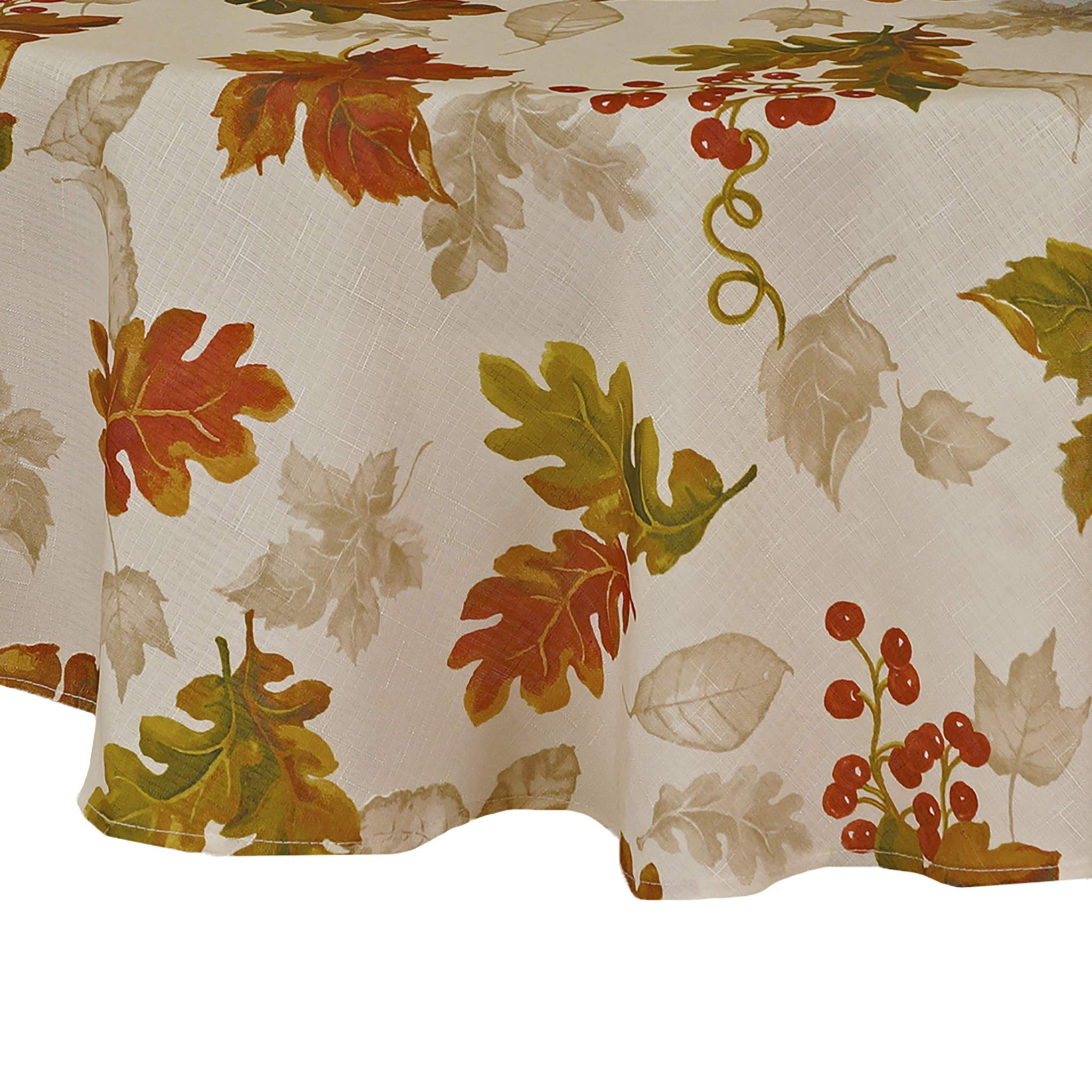 Elrene Home Fashions Swaying Leaves Allover Print Fall Tablecloth, 70'' Round, Ivory by Elrene