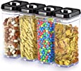Dwellza Kitchen Airtight Food Storage Containers with Lids – 4 Piece Set/All Same Size - Large Air Tight Clear Durable Plastic Food Containers with Black Lids - BPA-Free - Keeps Food Fresh & Dry