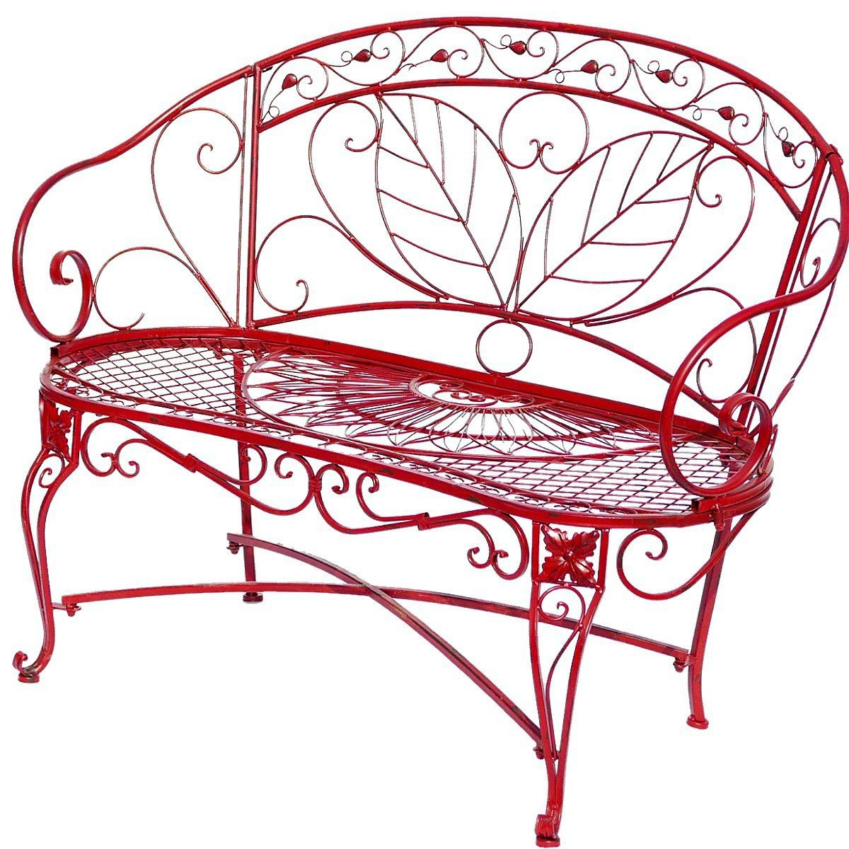 Sitzbank Gartenbank 2er rote Bank mit Blattmuster Terasse Vorgarten Metall