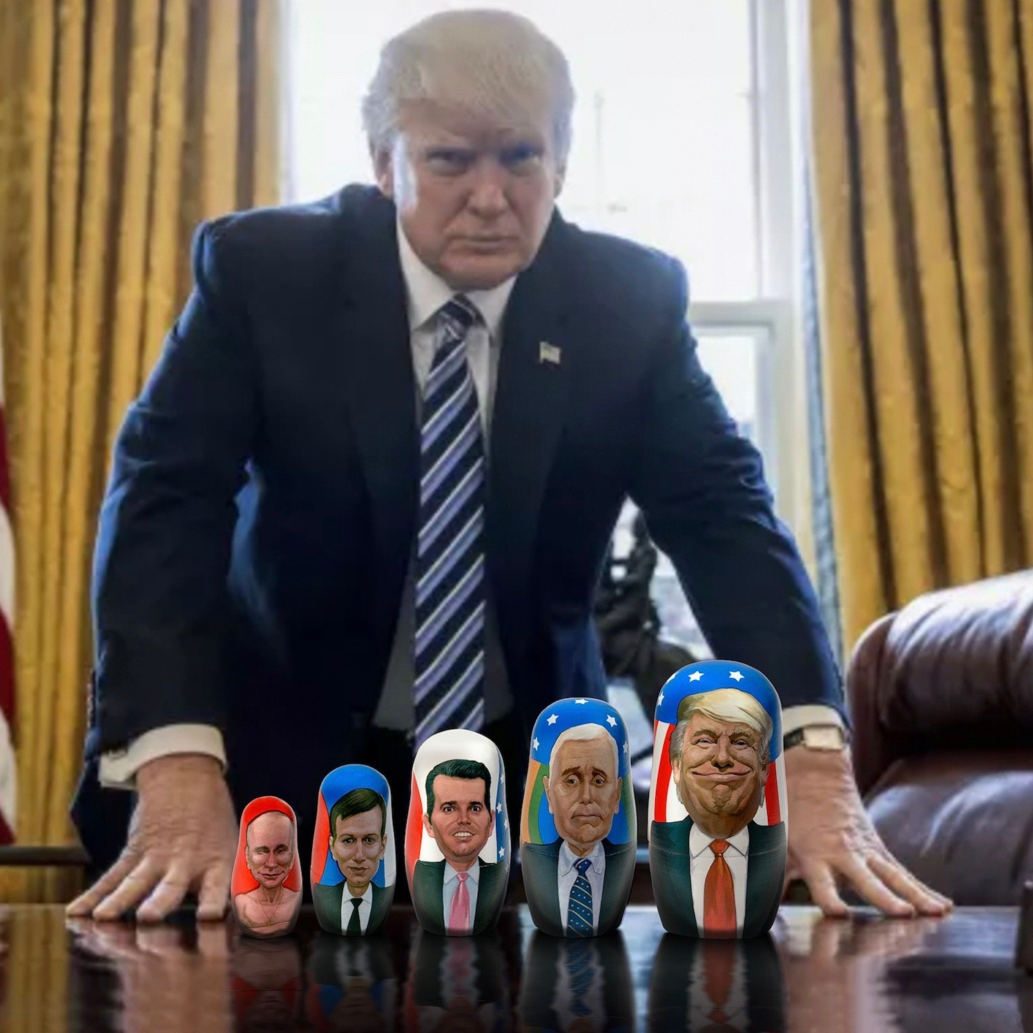 Concentric Surprise Trump & Putin Russian Matryoshka Nesting Doll - Kickstarter Famous! 6'' Tall - 5 piece set