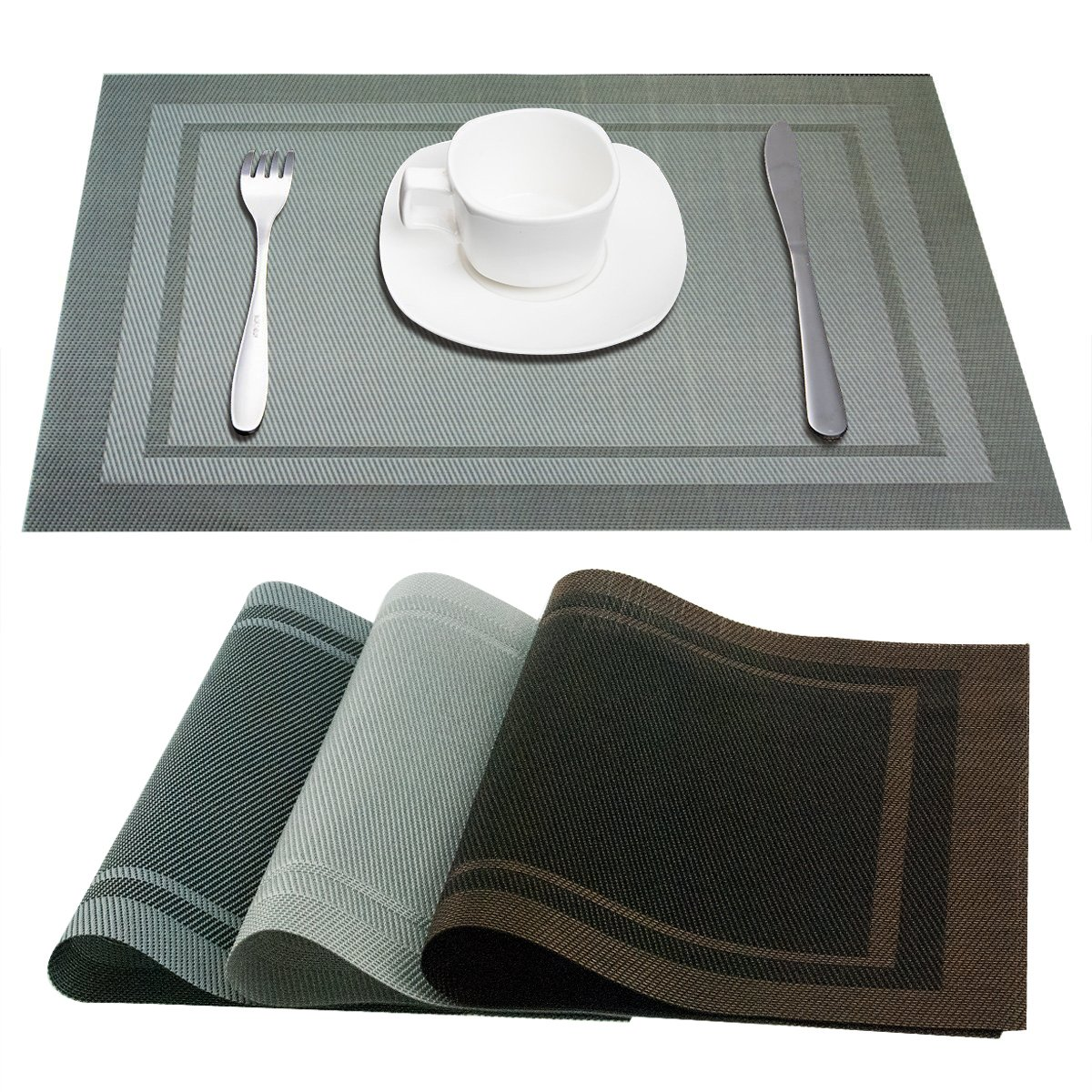 PVC Placemats Western Food Mats Vinyl Non-slip Heat Insulation Anti-skid Stain-resistant and Waterproof Western Food Placemats are Suitable for Family Hotel (6 Packs, Silver Grey) by Bingo Arts
