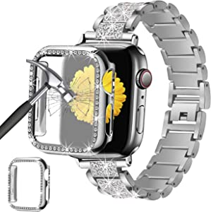 Mesime Compatible for Apple Watch Band 38mm 40mm 42mm 44mm with Screen Protector Case, Jewelry Replacement Metal Band & 2-Pack Bling Full Cover Protective Case for iWatch Series 6/5/4/3/2/1(Silver)