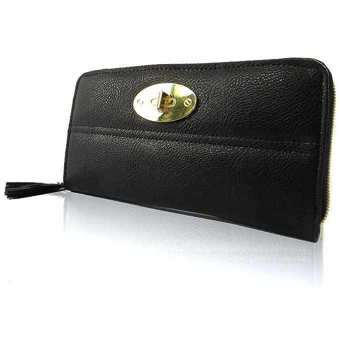 zarla Nueva Mujeres Monedero Funda de piel sintética mujer chica con cremallera alrededor de la cartera Bloqueo de cartero, color Negro, talla M: Amazon.es: ...