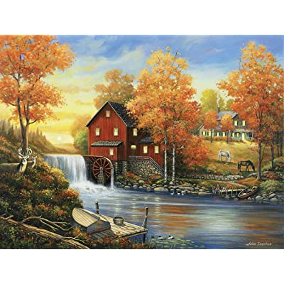 Sunset at The Old Mill 300 pc Jigsaw Puzzle by SUNSOUT INC: Toys & Games