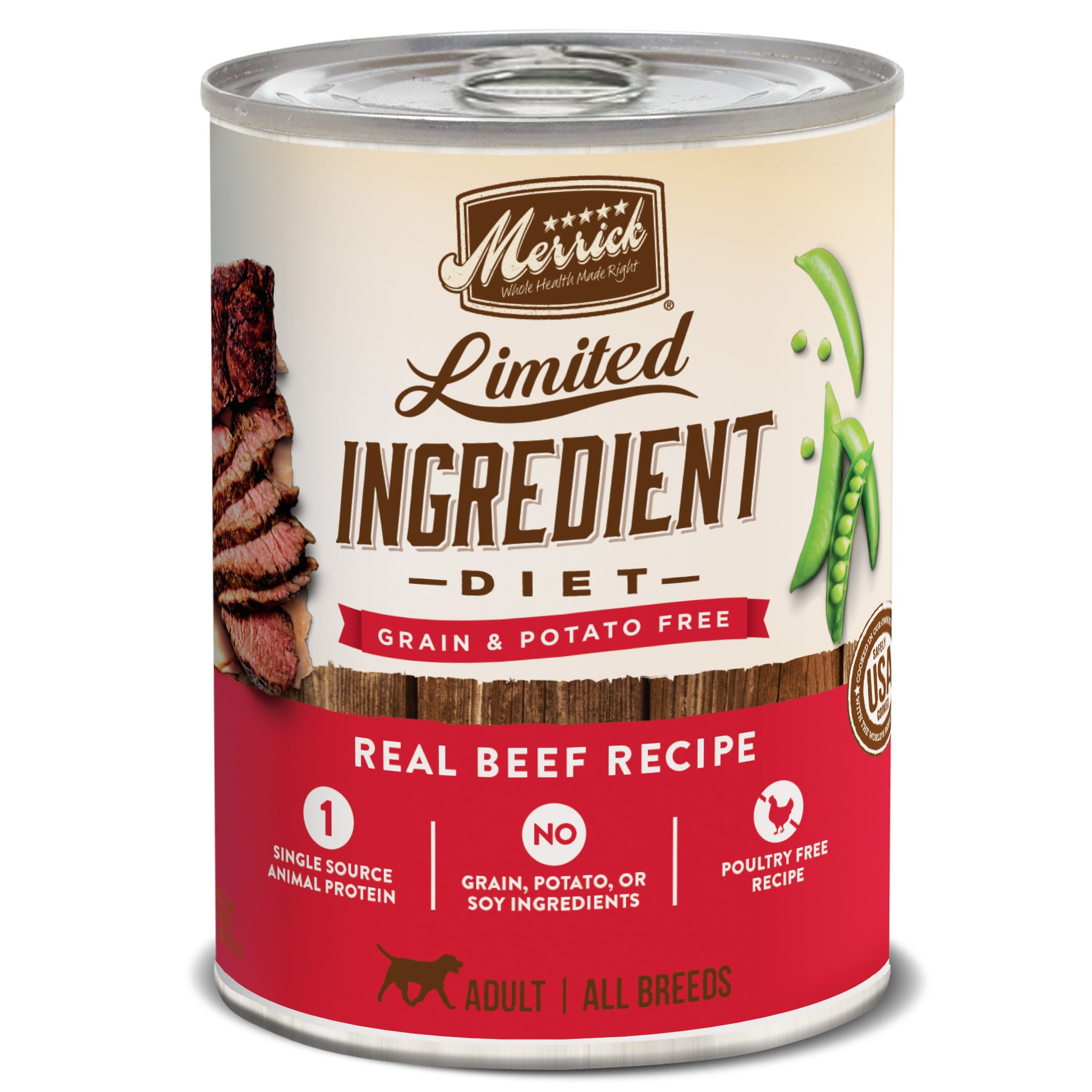 Merrick Grain Free Limited Ingredient Diet Beef Recipe Wet Dog Food 12.7 oz, Case of 12