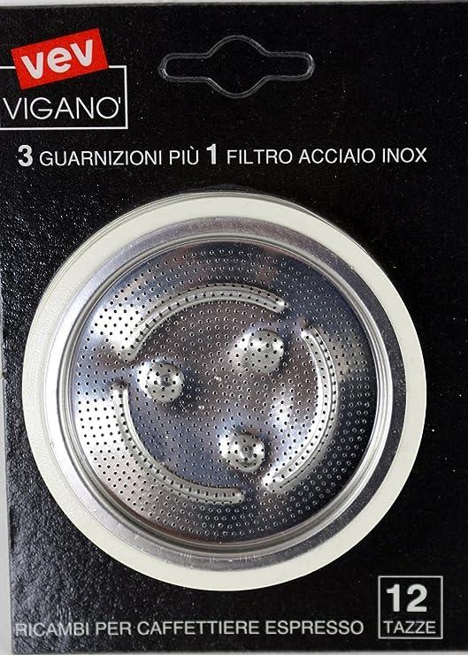3 sellos y filtro en acero inoxidable para cafetera VEV 12 tazas: Amazon.es: Hogar