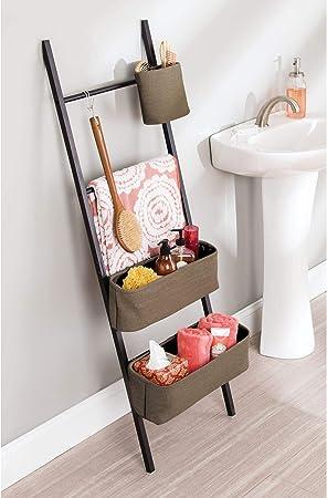 InterDesign Formbu WREN - Escalera autónoma para Almacenamiento en el Cuarto de baño, con canastos, Color café Oscuro/marrón: Amazon.es: Hogar