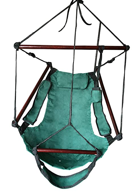 SueSport New Deluxe Hanging Sky Air Chair Swing Hammock Chair W/ Pillow And  Drink Holder