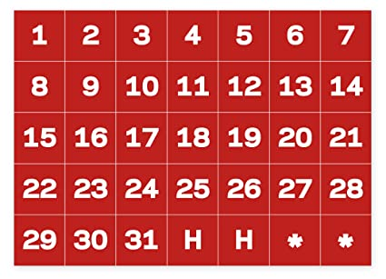 Calendar Date.Mastervision Calendar Date Magnets 1 X 1 Inches Each 35 Magnets White Red