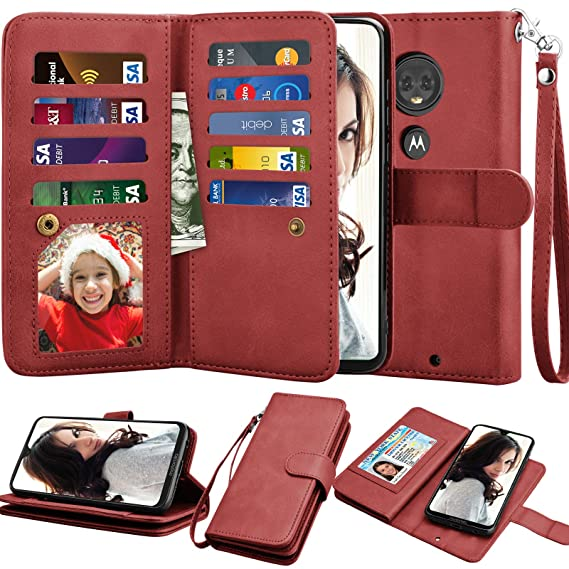 Moto G7 Wallet Case, Motorola Moto G7 Plus Case, Njjex [9 Card Slots] PU  Leather ID Credit Holder Folio Flip Cover [Detachable][Kickstand] Magnetic