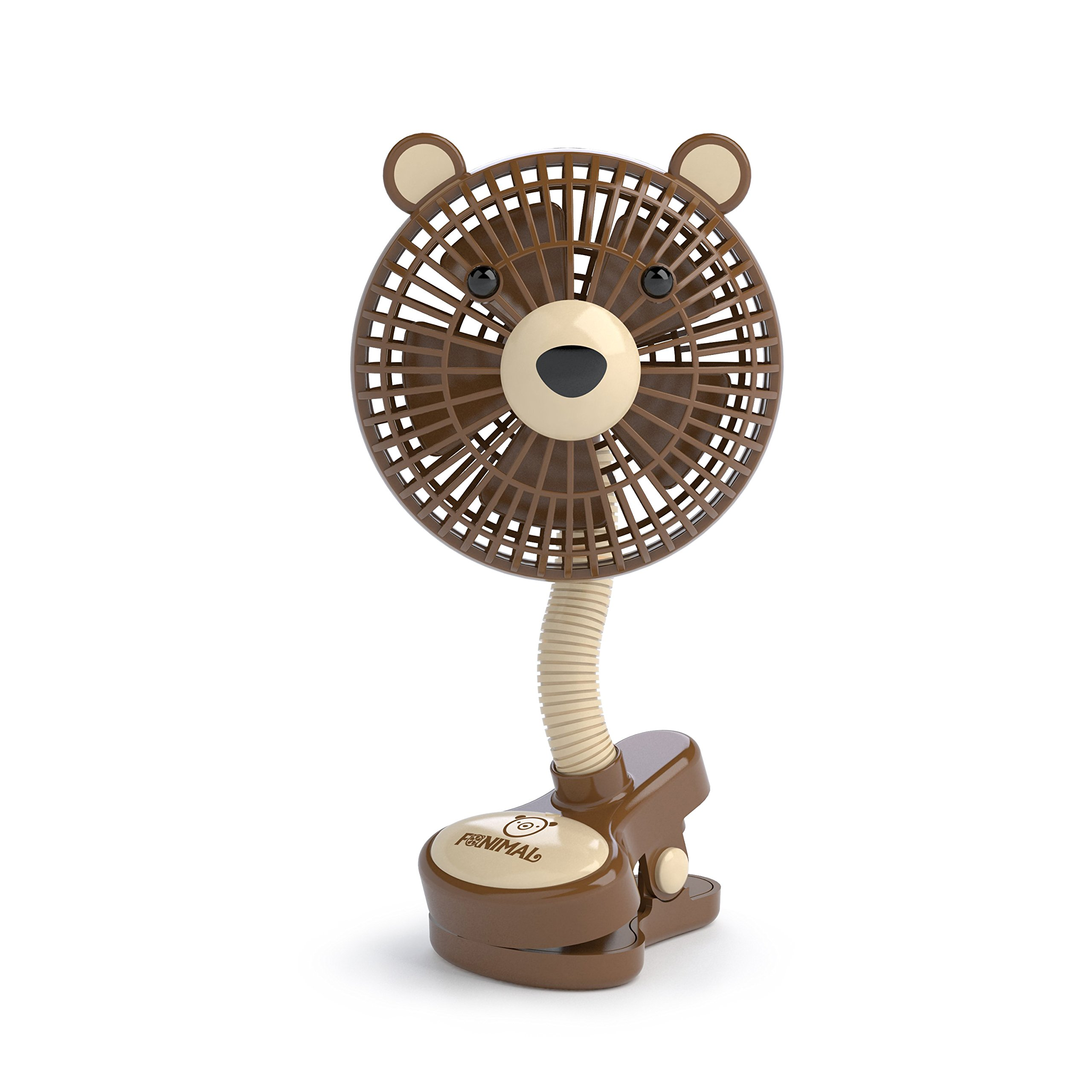 LIVION Fanimal Clip-On Stroller Fan 5'' - Portable Baby Fan with Clip - Mini Desk Fan - Cute Stroller Fan with Animal Designs - Adjustable Gooseneck - USB/Battery Powered (BOBEAR) by LIVION