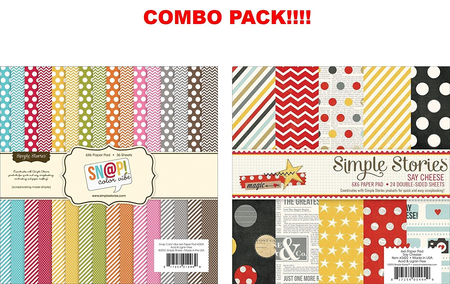 Scrapbook paper pads - Color Vibe Collection Paper Pad 6 X6 36 Sheets Arts Crafts Sewing