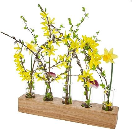 2 Stück Reagenzglas Vasen Glas Blumenvasen Dekovasen mit Holzständer