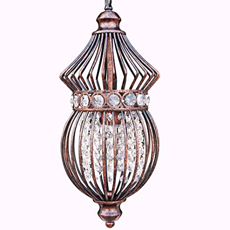 Starthi Mini Lantern Crystal Chandelier Pendant Light Antique Ceiling L& with Wrought Iron Birdcage Shades  sc 1 st  Amazon.com : crystal chandelier pendant light - www.canuckmediamonitor.org