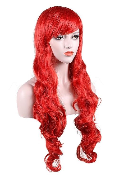 Peluca larga rizada para mujer, disfraz de Halloween, pelucas sintéticas resistentes al calor,