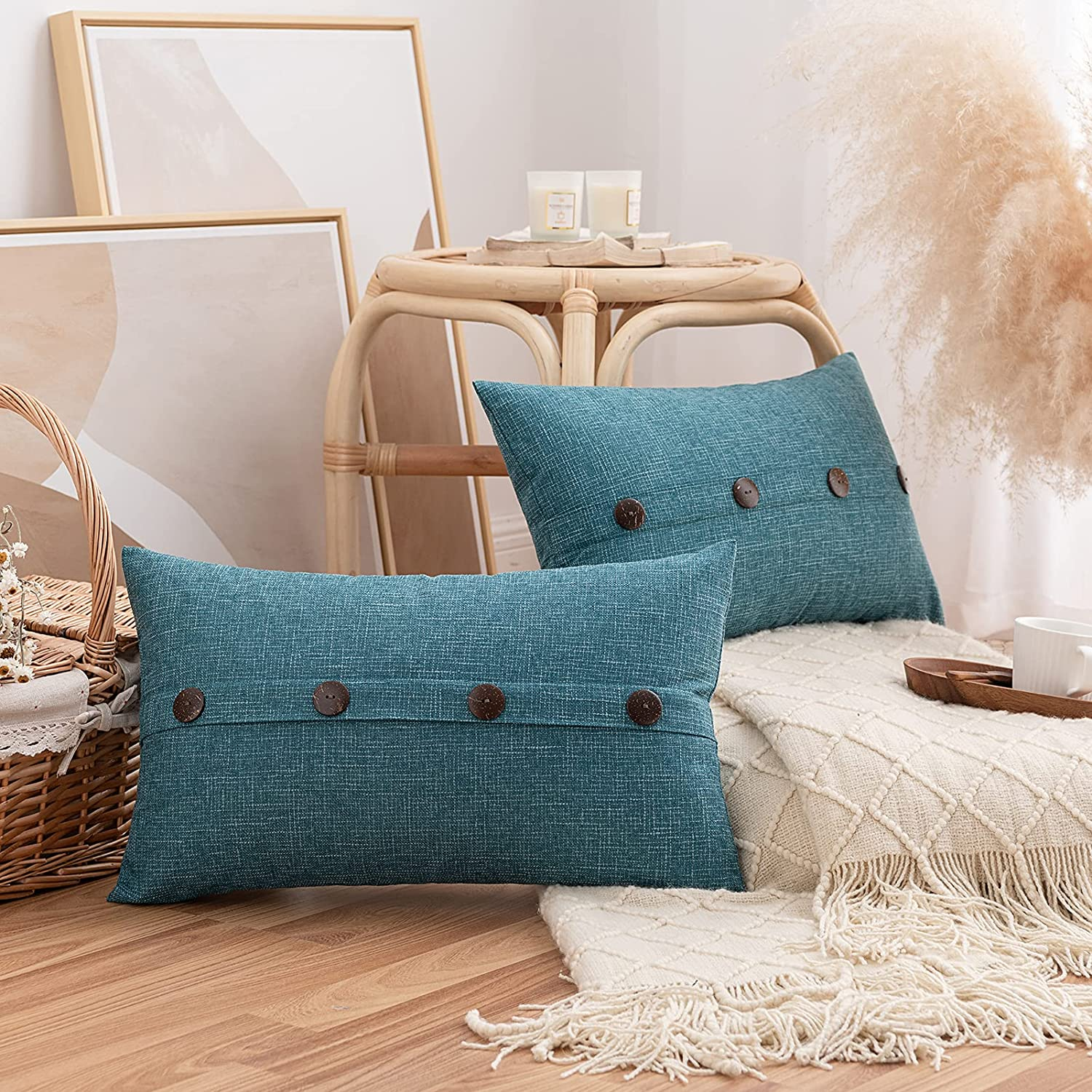 Pack of 2 Burlap Linen Throw Pillow Covers with Buttons, Rustic Farmhouse Decorative Vintage Lumbar Pillowcases Cushion Throw Pillows for Couch Sofa Living Room Chair Decor, Teal, 12 x 20 Inch