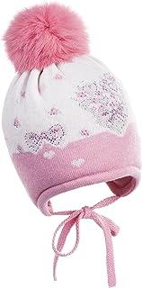 Jamiks Bonnet bébé avec Pompon à Nouer Miley I de Bonnet d'hiver Laine, Angora, Viscose–Fabriqué en UE Viscose-Fabriqué en UE Dunkelrosa 42 JZ16008