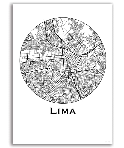 Cartel Lima Perú Minimalista Mapa - City Map, decoración ...