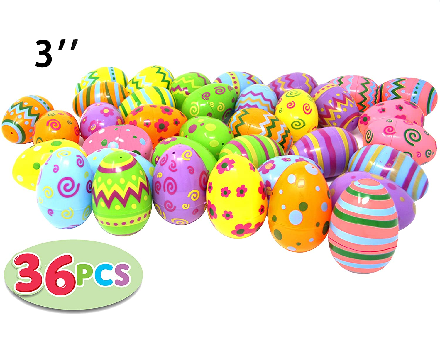 36 PCs Jumbo Plastic Printed Bright Easter Eggs, Over 3'' tall for Easter Hunt, Basket Stuffers Fillers, Classroom Prize Supplies, Filling Treats and Party Favor