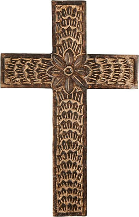 Tree of Craft Wood Wall Cross | Handmade Decorative Floral Design Brown Catholic Cross Wall Decor | Religious Hand Carved Rustic Wall Art Cross 16 x 10 for Living Room Nursery Weeding Spa Meditation Dorm