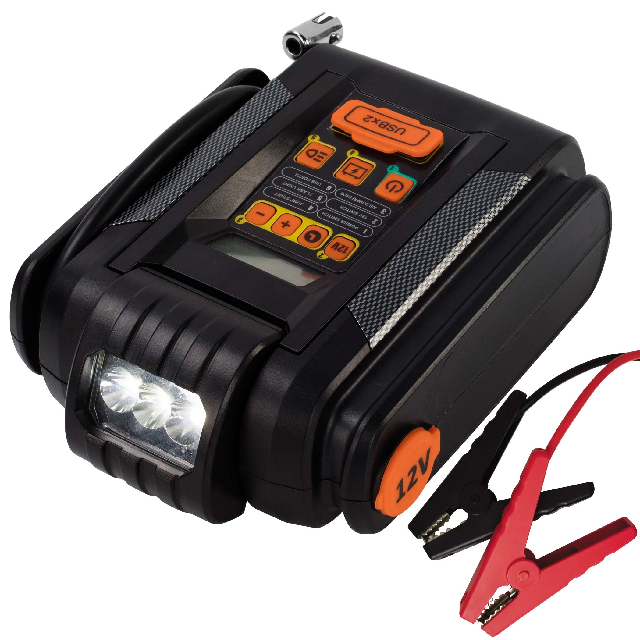 CARTMAN Lithium Jump Starter With Digital Preset Air Compressor, LCD Screen, 600A Peak 9000mAh, 2 X USB 2.4A