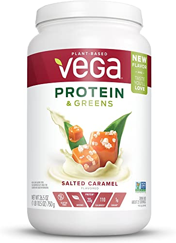 Vega Protein Greens Salted Caramel 25 Servings, 26.5 Ounce – Plant Based Protein Powder, Keto-Friendly, Gluten Free, Non Dairy, Vegan, Non Soy, Non GMO – Packaging May Vary