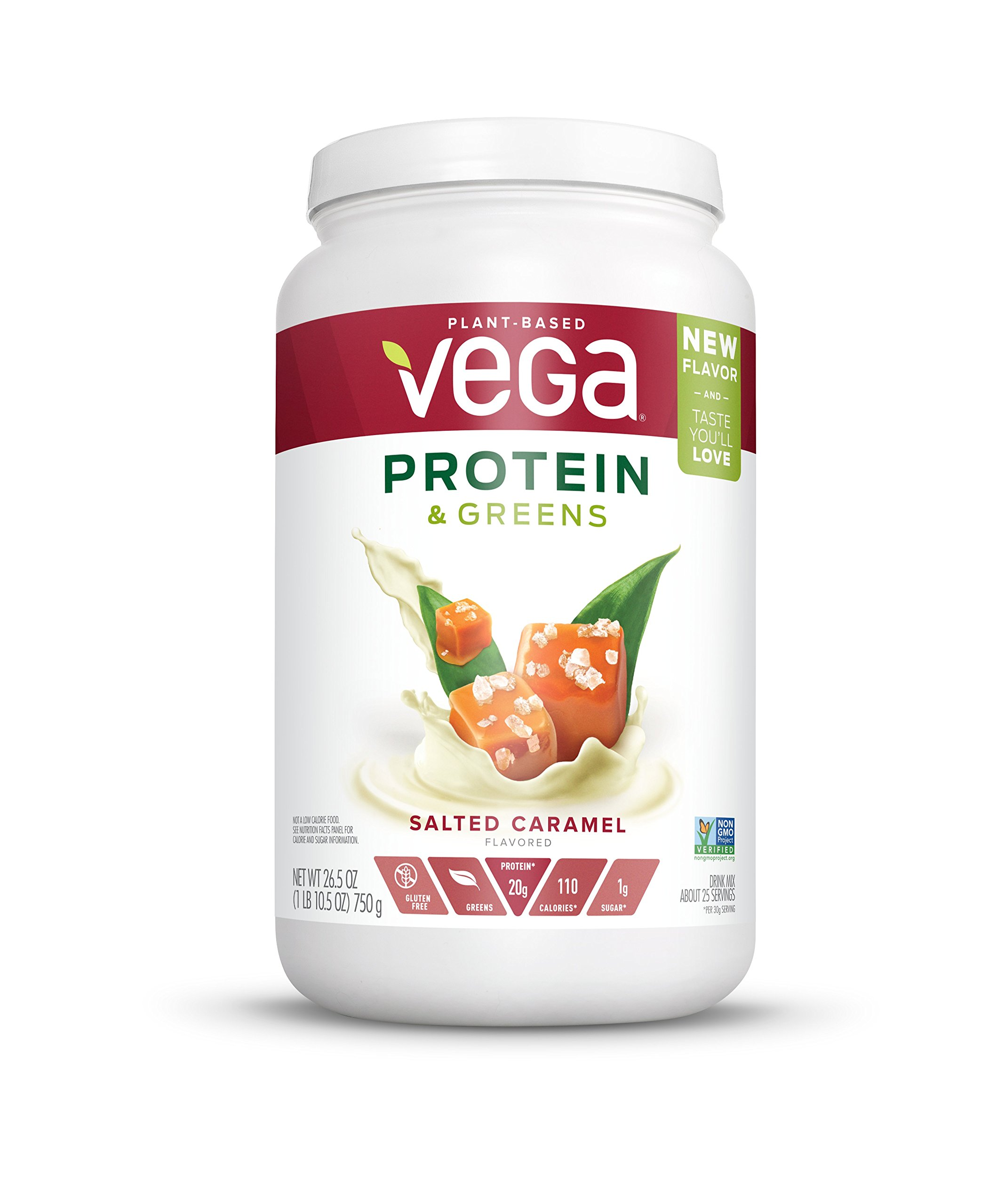 Vega Protein & Greens Salted Caramel (25 Servings, 26.5 oz) - Plant Based Protein Powder, Gluten Free, Non Dairy, Vegan, Non Soy, Non GMO - (Packaging may vary)