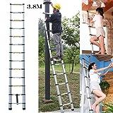 3.8m 12.5 FEET Multi-Purpose Aluminium Telescopic Ladder DIY Extendable 13 Steps For Home Loft Office