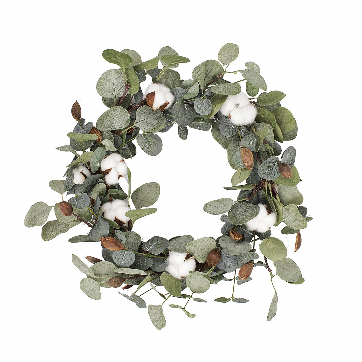 FAVOWREATH 2018 Vitality Series FAVO-W48 Handmade 15 inch Green Leaf,Cotton Grapevine Wreath For Summer/Fall Festival Celebration Front Door/Wall/Fireplace Laurel/Eucalyptus Hanger Home Relaxed Decor by FAVOWREATH