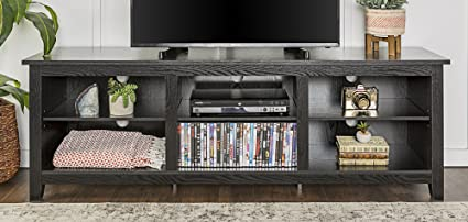 WE Furniture 70u0026quot; Black Wood TV Stand Media Console