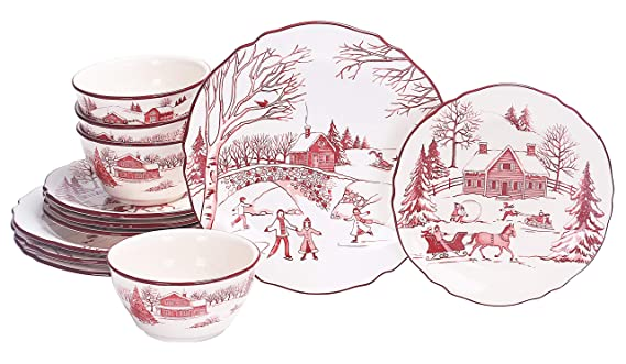 Bico Toile de Jouy Winter Wonderland Ceramics 12pcs Dinnerware Set, Service for 4, Inclusive of 11 inch Dinner Plates, 8.75 inch Salad Plates and 25oz Bowls, for Party, Microwave & Dishwasher Safe best christmas plate sets