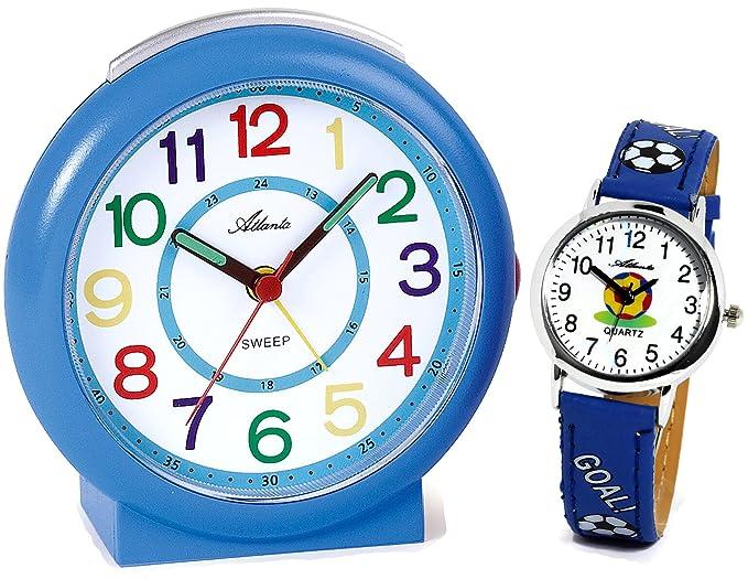 Reloj con alarma para niños + Reloj de pulsera para niño azul - Atlanta 1917-5 KAU: Amazon.es: Relojes