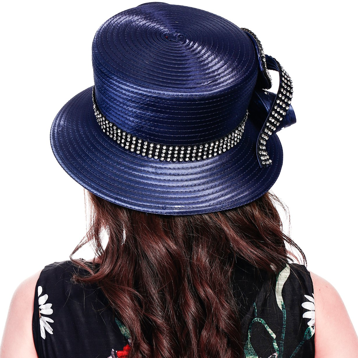 FORBUSITE Stripe Ribbon Asymmetry Church Derby Dress Hat SD707 (Navy) by FORBUSITE (Image #4)