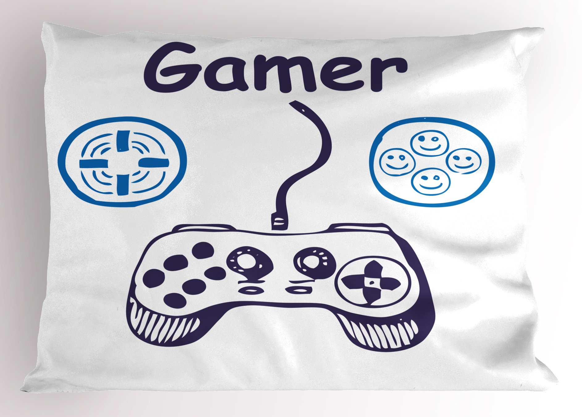 Lunarable Gamer Pillow Sham, Sketch of Videogame Controller with D-Pad and Smiling Buttons Design, Decorative Standard Queen Size Printed Pillowcase, 30 X 20 inches, Azure Blue Purple White