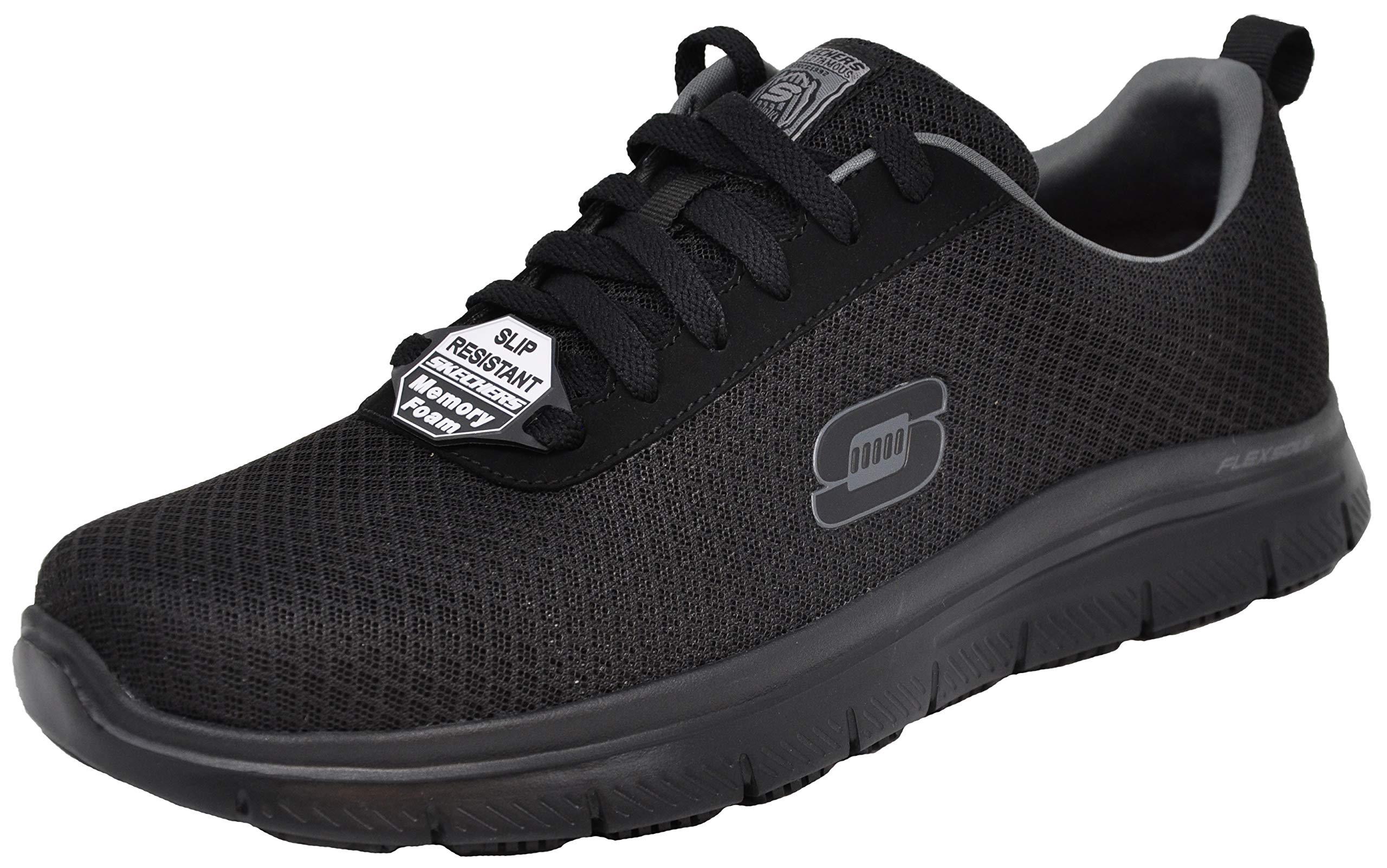 Skechers Men's Flex Advantage Bendon Work Shoe, Black/Charcoal, 11 M US