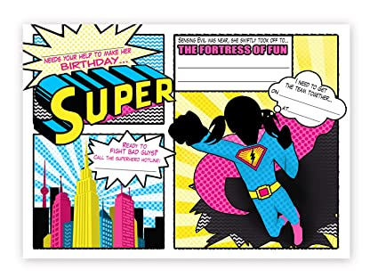 amazon com superhero invitations pink 10 invitations 10