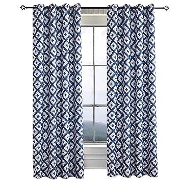 Amazoncom Blackout Curtains Drapes Greish White Navy Blue White