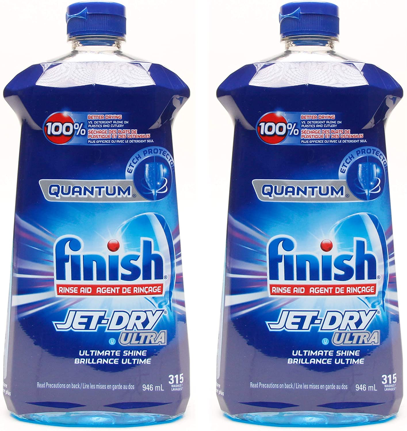 Finish Quantum Jet-Dry Ultra Dishwasher Rinse Agent, 315 Washes - 32 Fl Oz / 946 mL x 2 Pack (630 Washes)