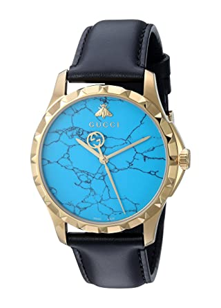 78c513703a1 Image Unavailable. Image not available for. Color  Gucci Swiss Quartz  Gold-Tone and Leather Dress Black Men s Watch(Model  YA126462