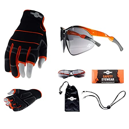 e3bd8058f02 ToolFreak Agent Smoke Tinted Safety Glasses   3 Finger Gloves for Work and  Sport  Amazon.co.uk  DIY   Tools